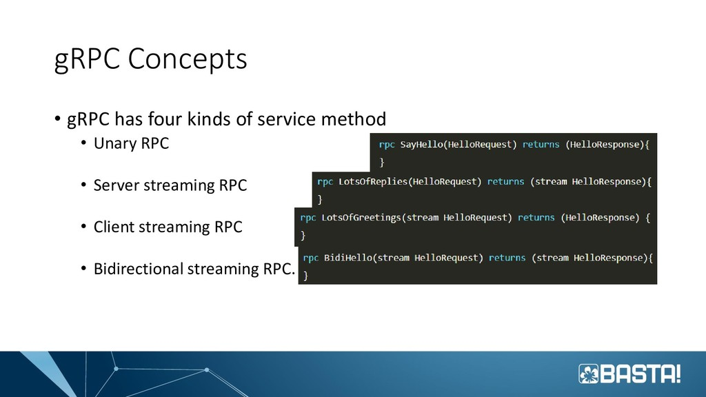 gRPC Concepts • gRPC has four kinds of service ...