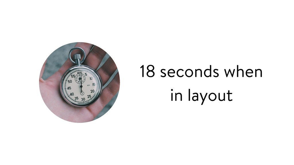 18 seconds when in layout