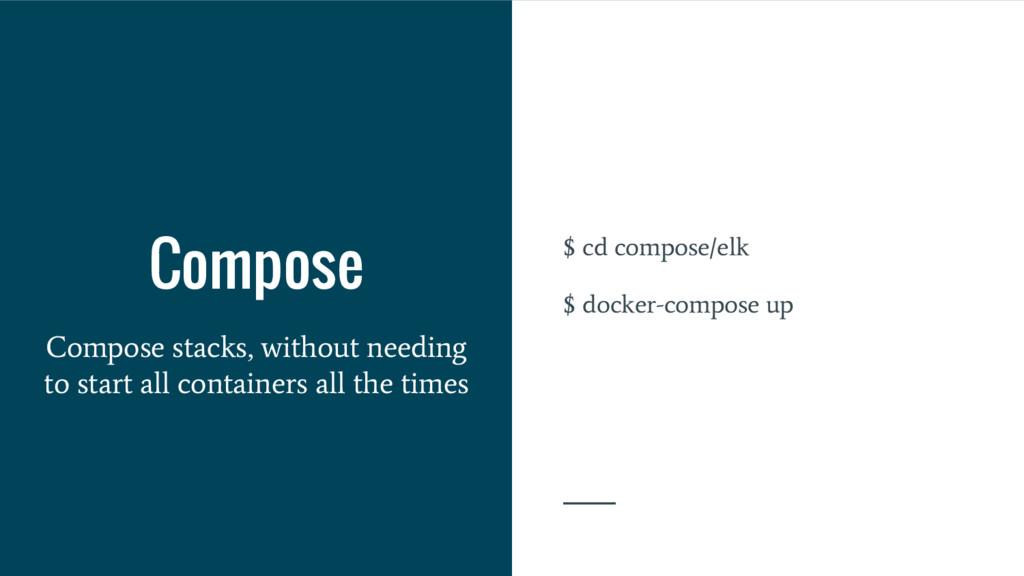 $ cd compose/elk $ docker-compose up Compose Co...