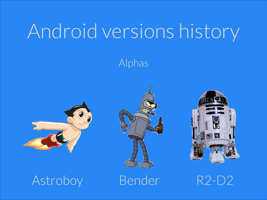 Android versions history Alphas Astroboy R2-D2 ...