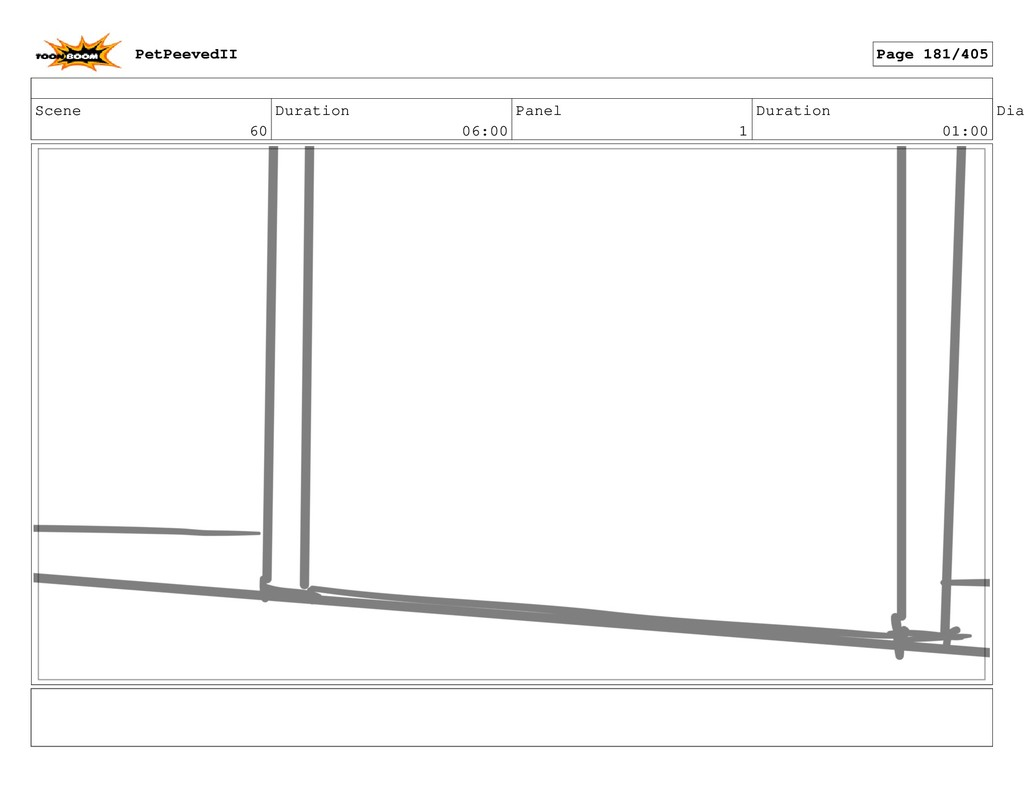 Scene 60 Duration 06:00 Panel 1 Duration 01:00 ...