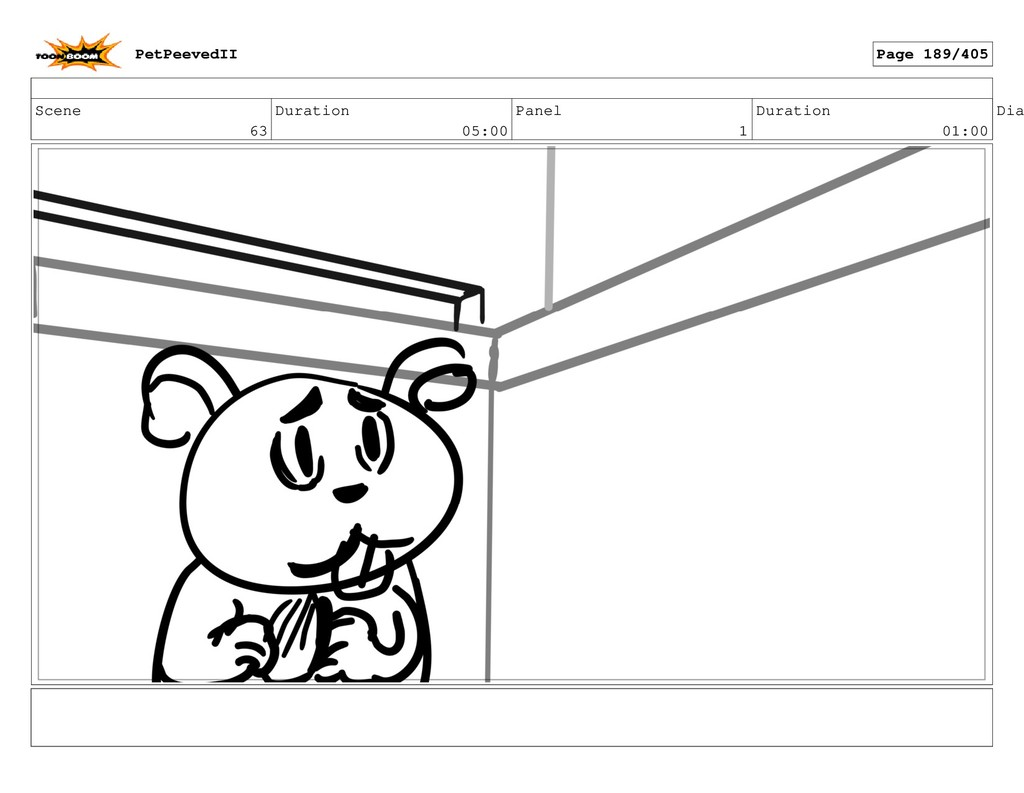 Scene 63 Duration 05:00 Panel 1 Duration 01:00 ...