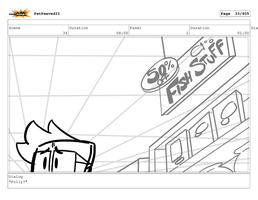 Scene 34 Duration 08:00 Panel 2 Duration 01:00 ...