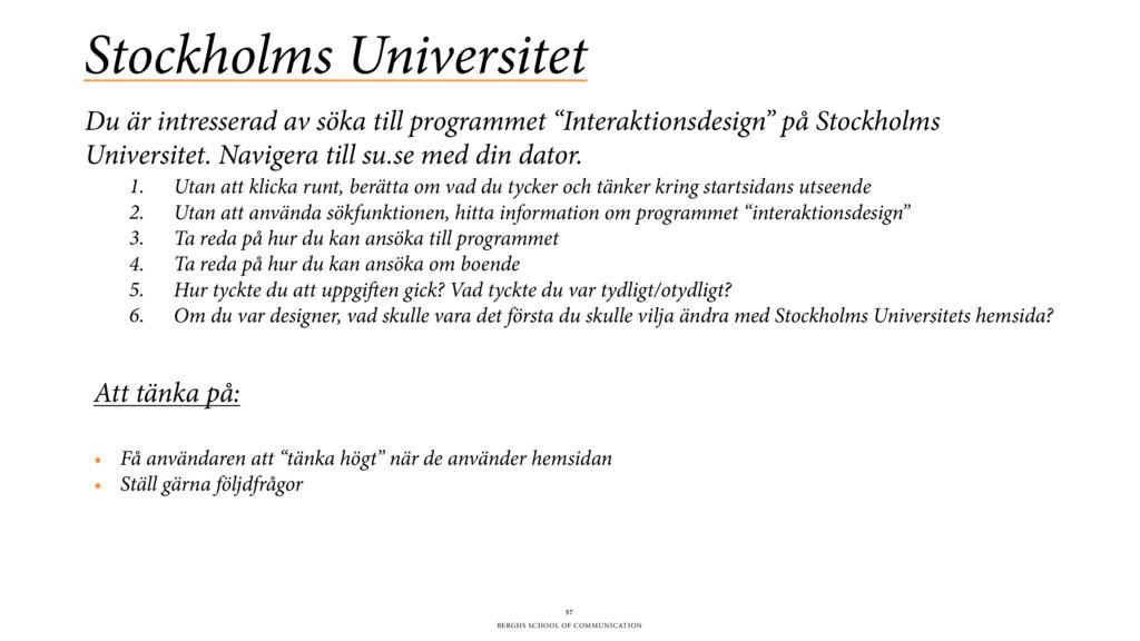 BERGHS SCHOOL OF COMMUNICATION Stockholms Unive...