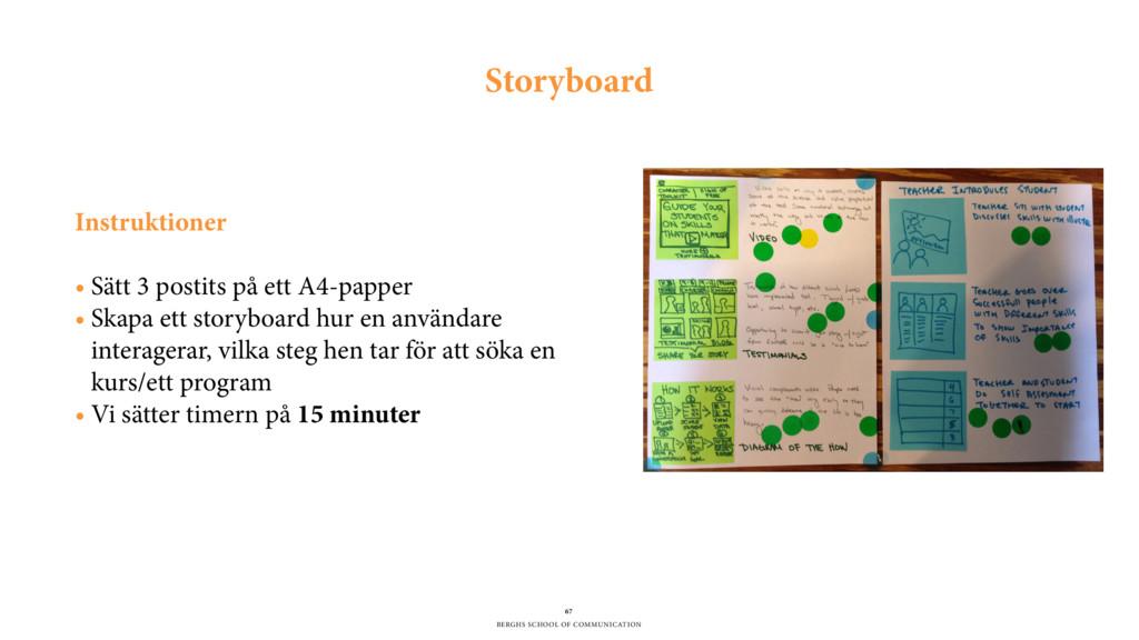 BERGHS SCHOOL OF COMMUNICATION 67 Storyboard In...