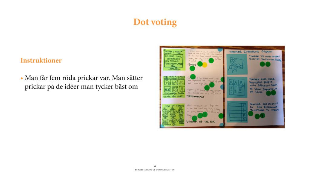BERGHS SCHOOL OF COMMUNICATION 68 Dot voting In...