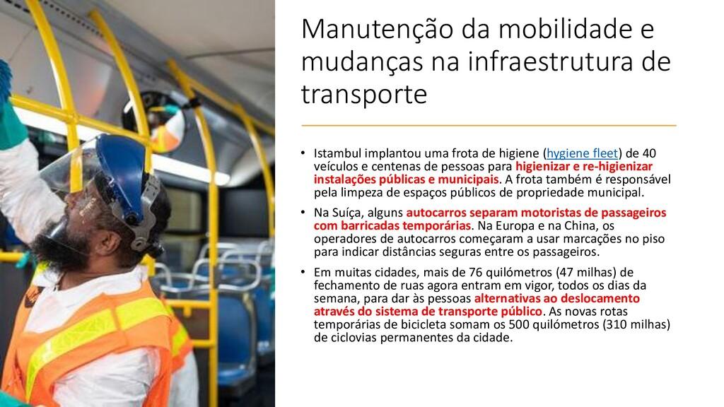 Manutenção da mobilidade e mudanças na infraest...