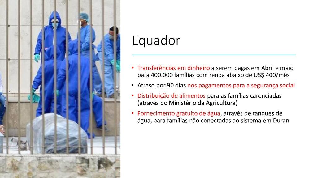 Equador • Transferências em dinheiro a serem pa...