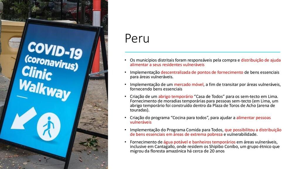 Peru • Os municípios distritais foram responsáv...