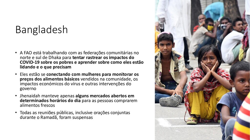 Bangladesh • A FAO está trabalhando com as fede...