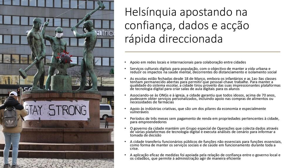 Helsínquia apostando na confiança, dados e acçã...