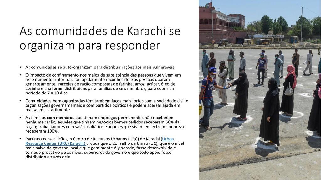 As comunidades de Karachi se organizam para res...