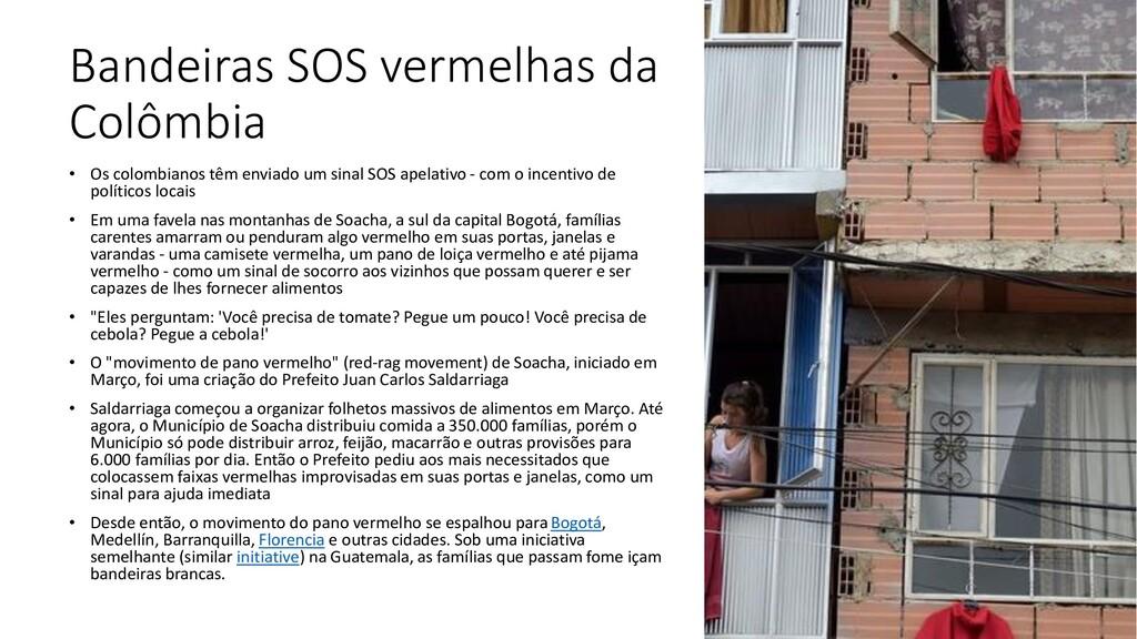 Bandeiras SOS vermelhas da Colômbia • Os colomb...