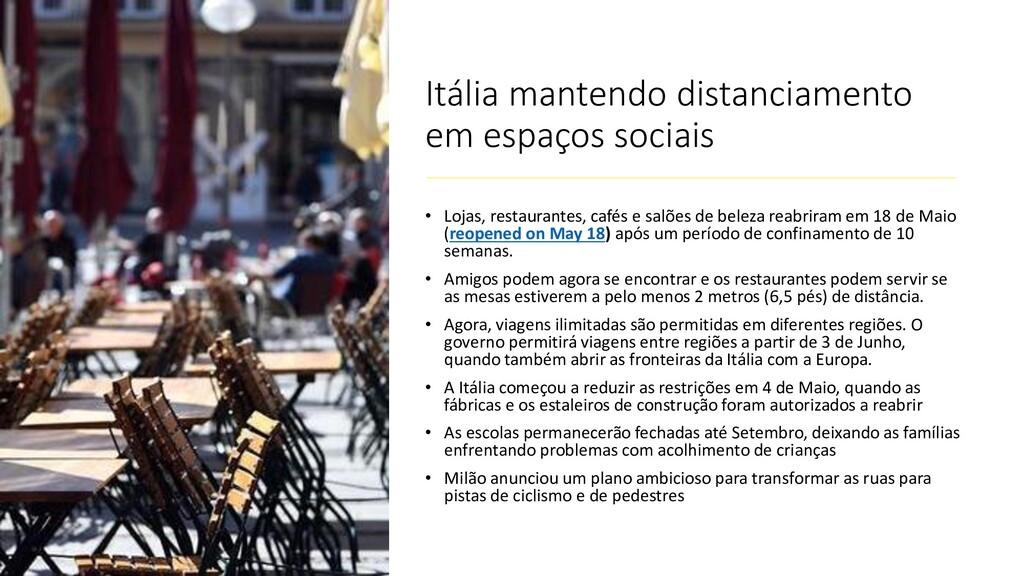 Itália mantendo distanciamento em espaços socia...