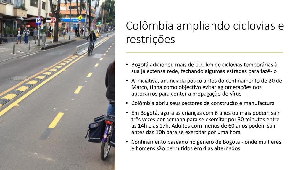Colômbia ampliando ciclovias e restrições • Bog...