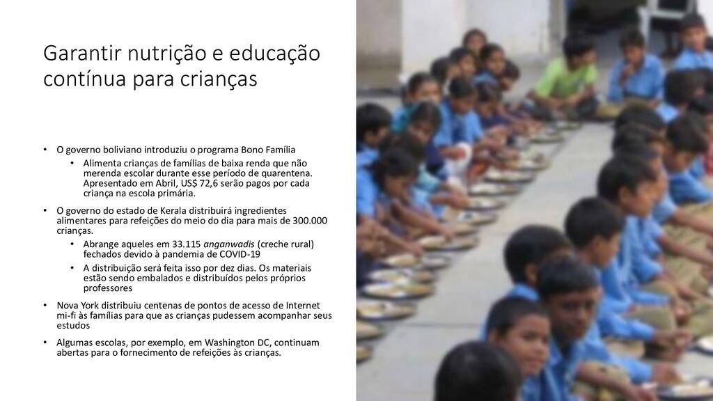 Garantir nutrição e educação contínua para cria...