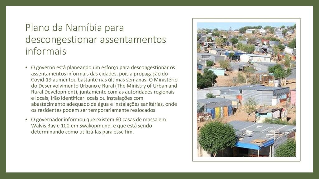 Plano da Namíbia para descongestionar assentame...