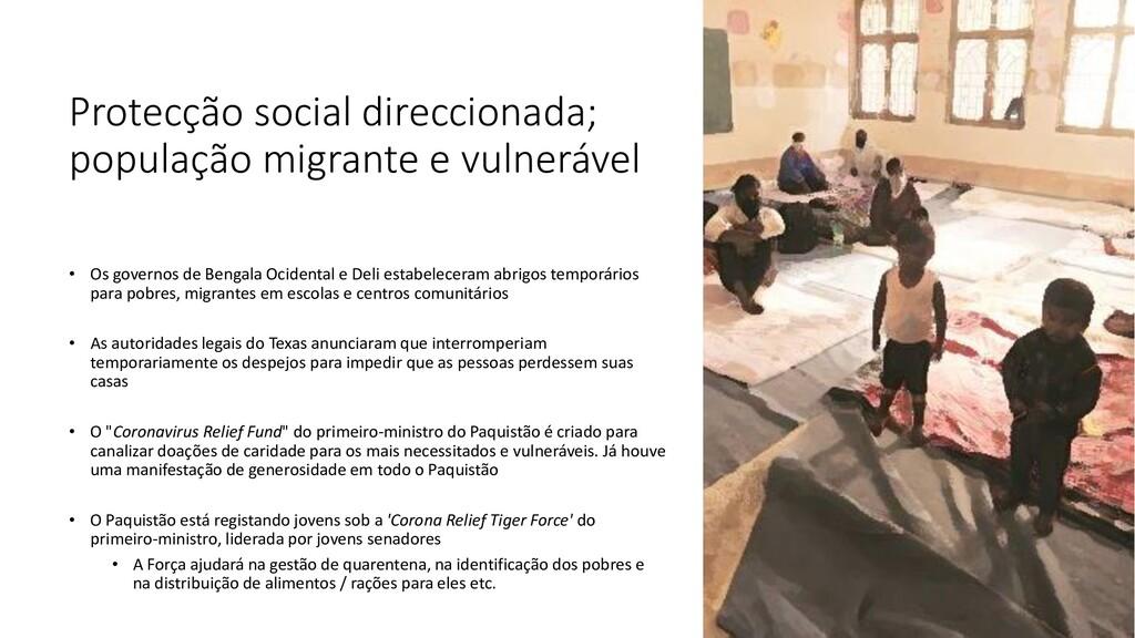 Protecção social direccionada; população migran...