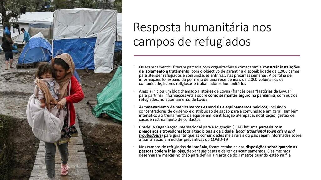 Resposta humanitária nos campos de refugiados •...