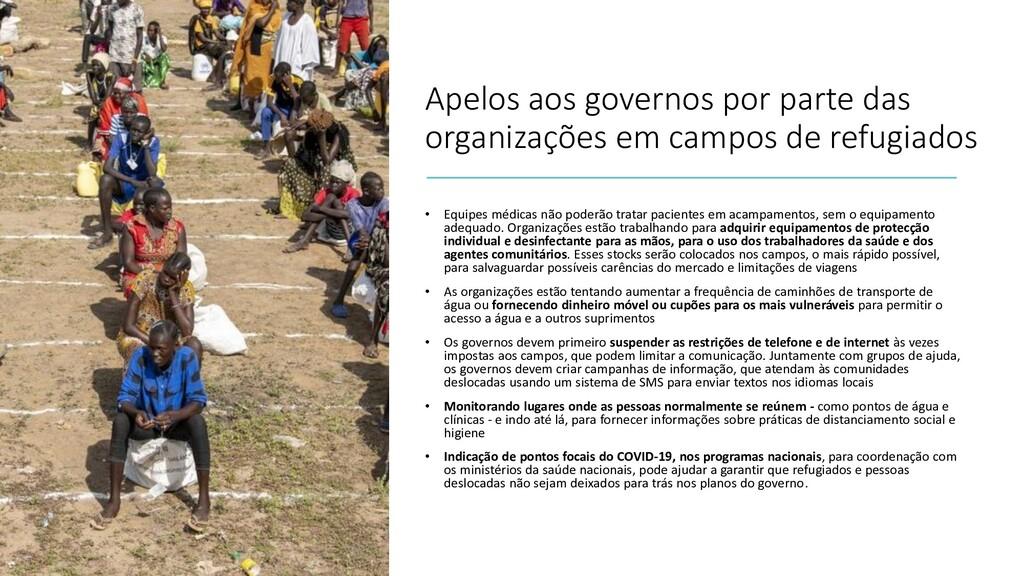 Apelos aos governos por parte das organizações ...