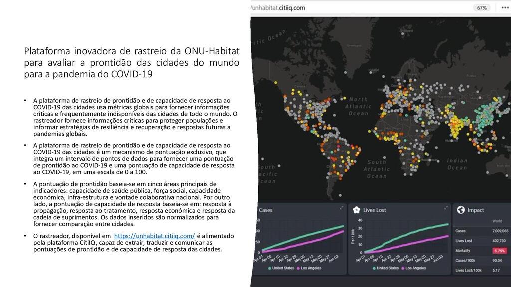 Plataforma inovadora de rastreio da ONU-Habitat...
