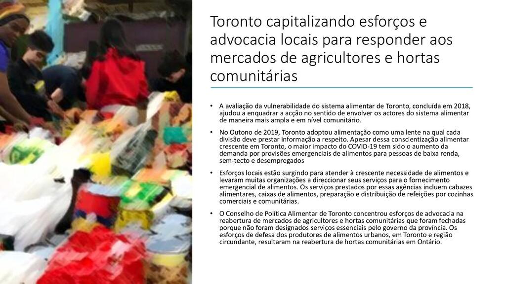 Toronto capitalizando esforços e advocacia loca...