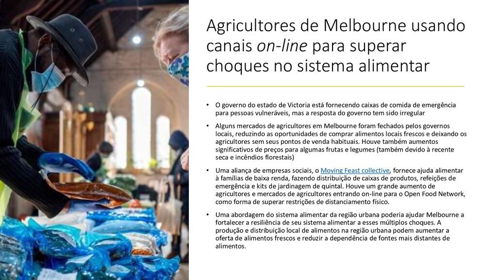 Agricultores de Melbourne usando canais on-line...