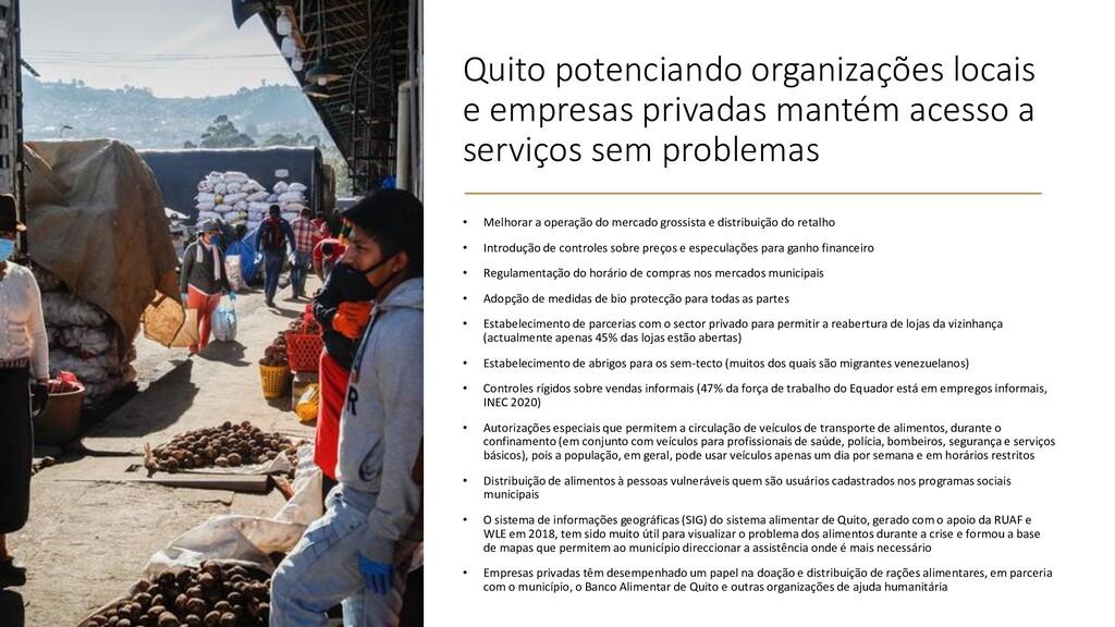 Quito potenciando organizações locais e empresa...