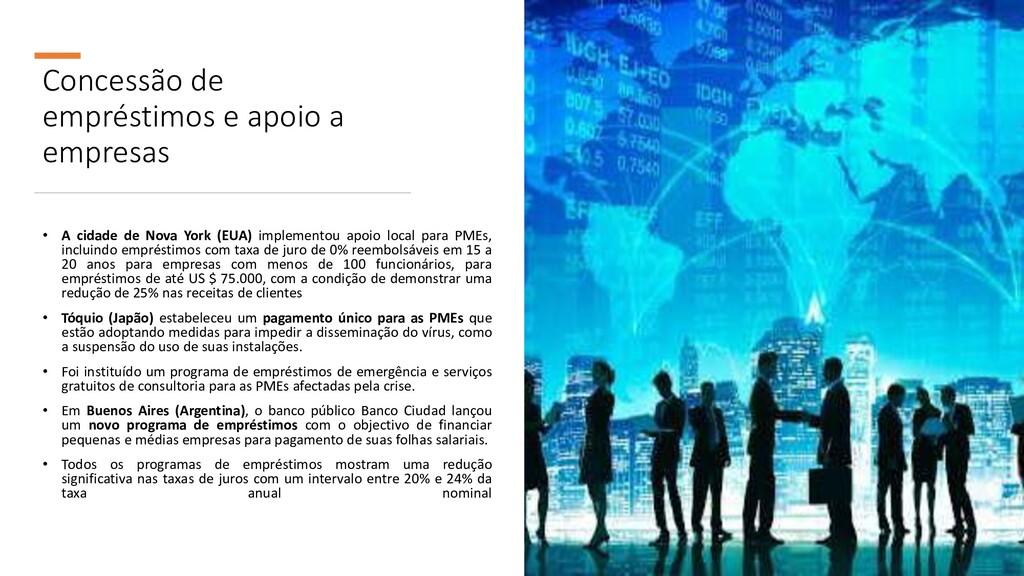 Concessão de empréstimos e apoio a empresas • A...