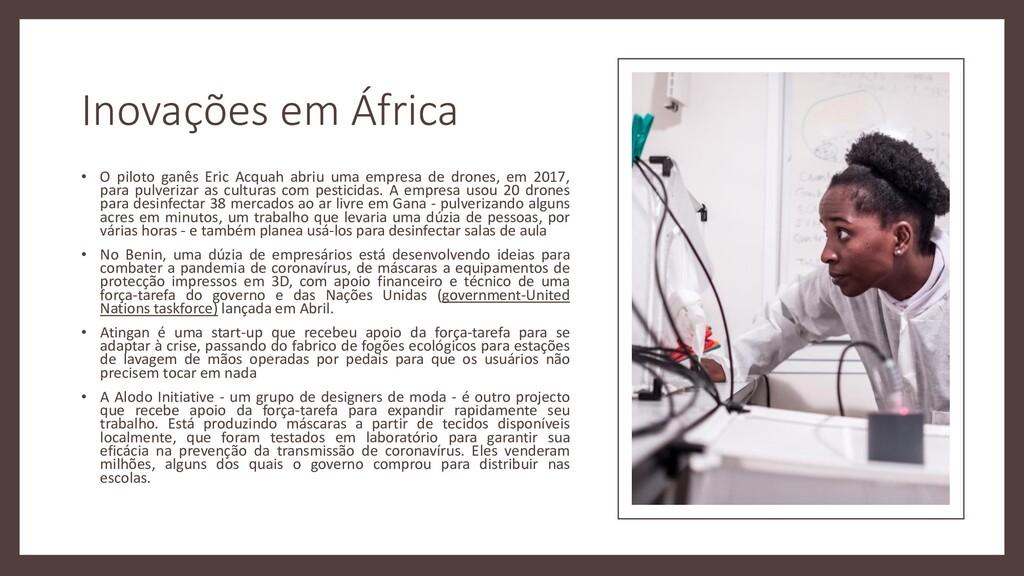 Inovações em África • O piloto ganês Eric Acqua...