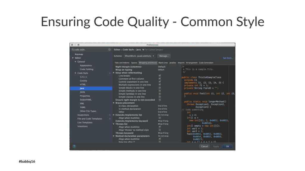 Ensuring Code Quality - Common Style #babbq16