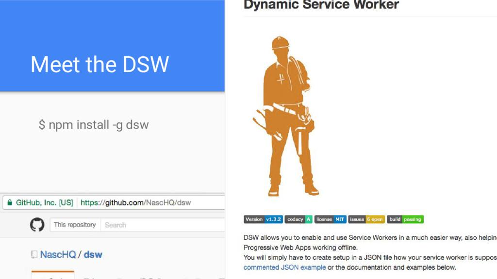 Meet the DSW $ npm install -g dsw