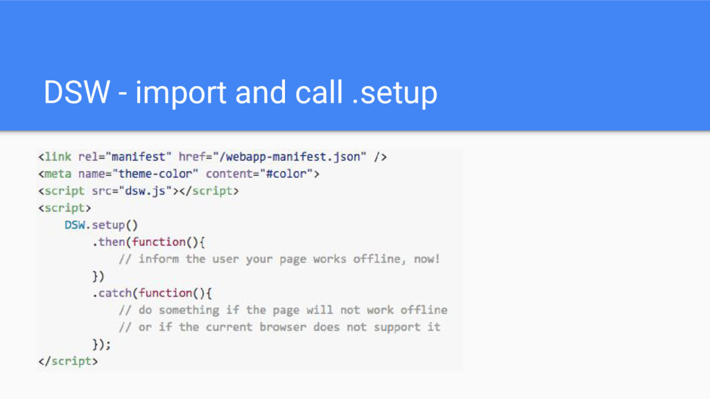 DSW - import and call .setup
