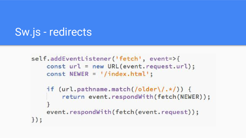 Sw.js - redirects