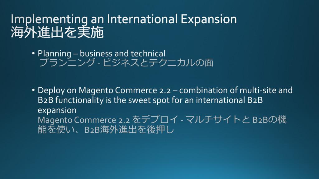 • Planning – business and technical プランニング - ビジ...