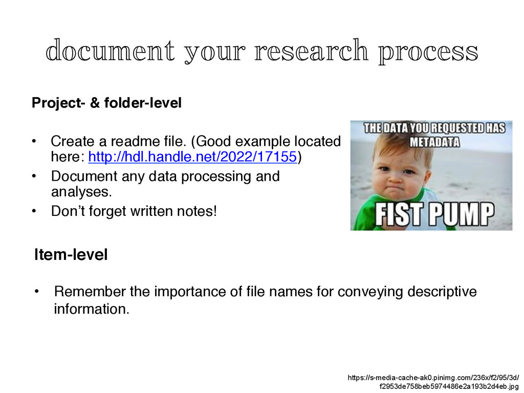 document your research process	