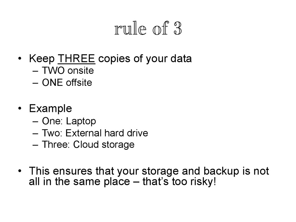 rule of 3	