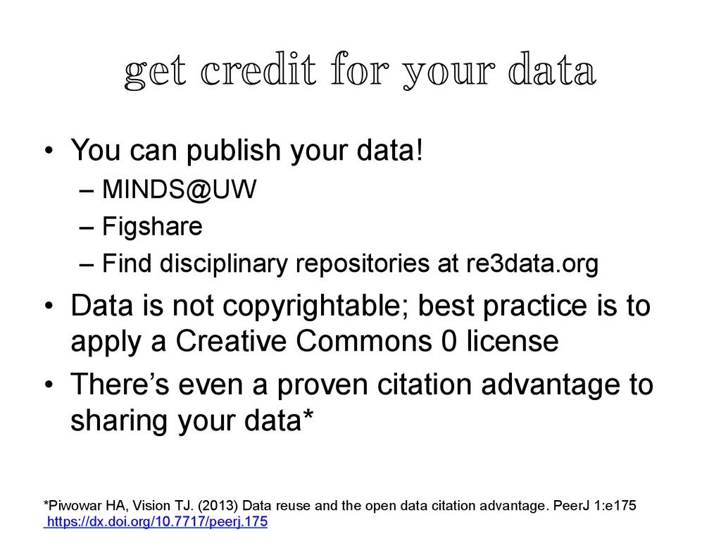 get credit for your data	