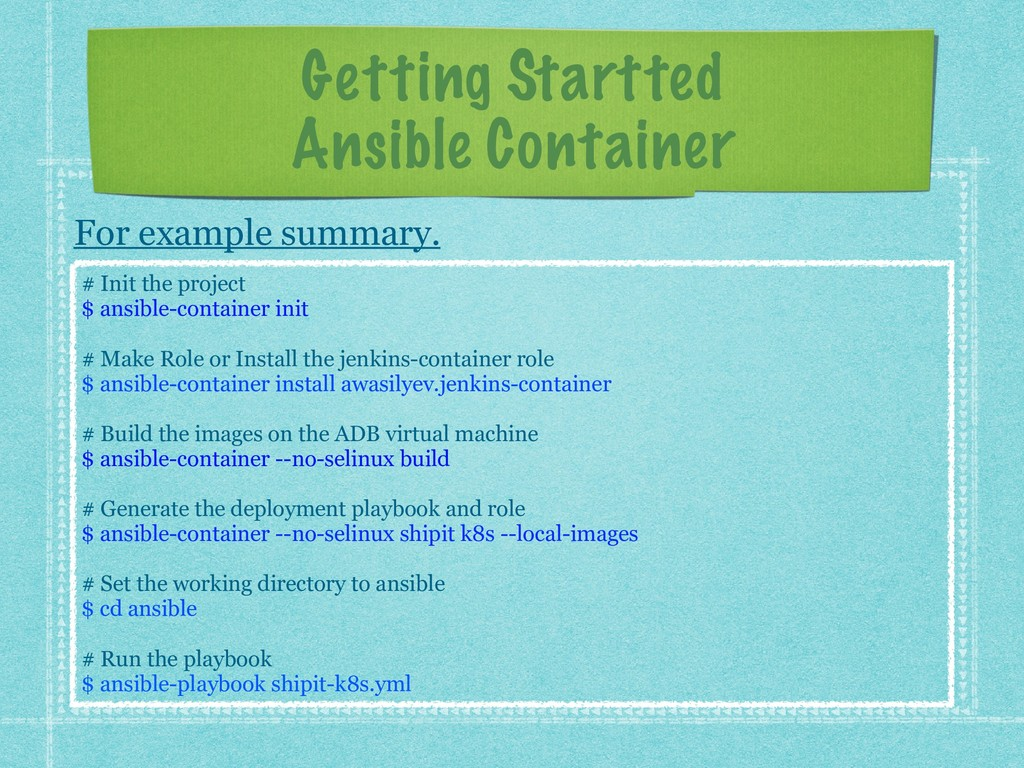 Getting Startted Ansible Container For example ...