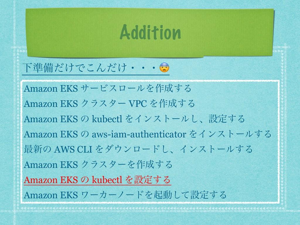 Addition Amazon EKS αʔϏεϩʔϧΛ࡞͢Δ Amazon EKS Ϋϥε...