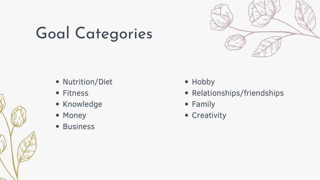 Goal Categories Hobby Relationships/friendships...