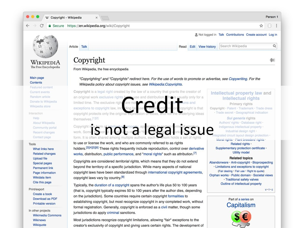 Credit is not a legal issue