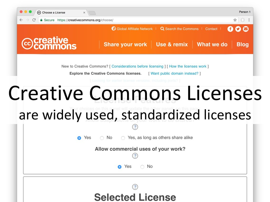 Creative Commons Licenses are widely used, stan...