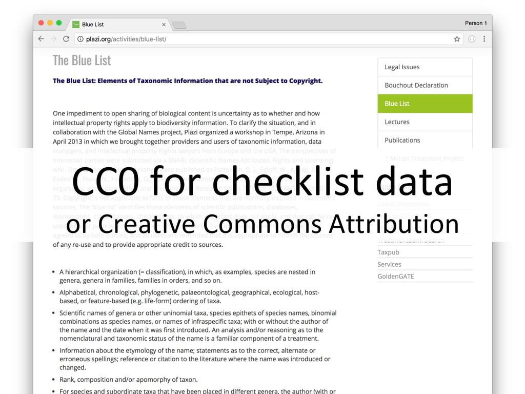 CC0 for checklist data or Creative Commons Attr...
