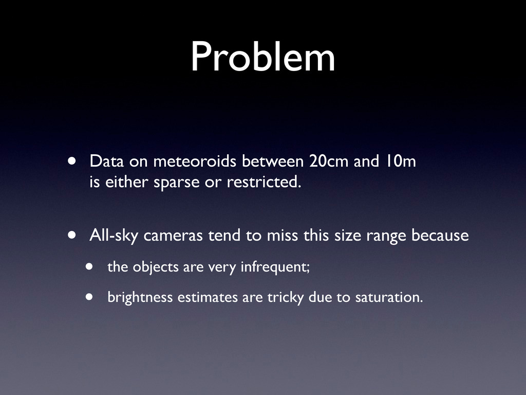 Problem • Data on meteoroids between 20cm and 1...