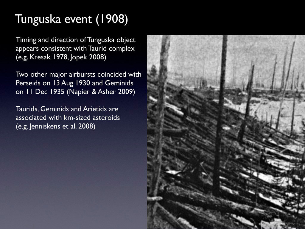 Tunguska event (1908) Timing and direction of T...