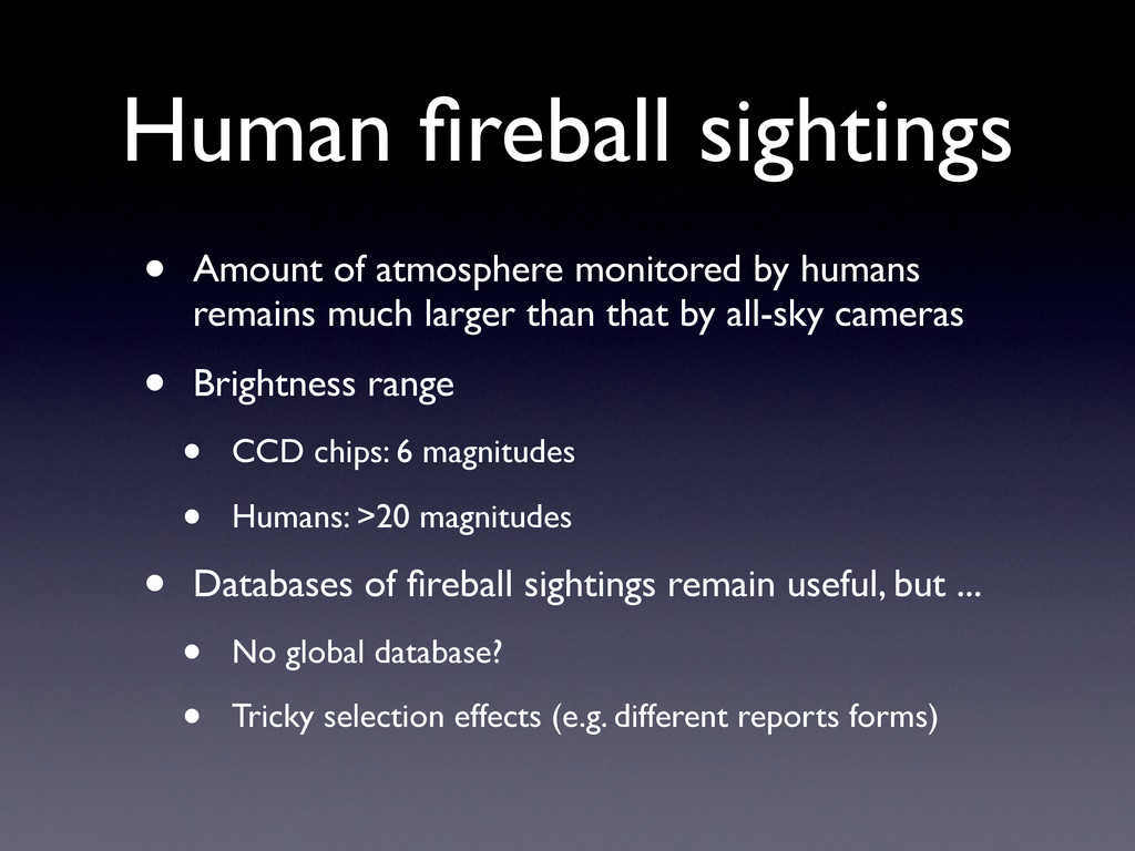Human fireball sightings • Amount of atmosphere ...