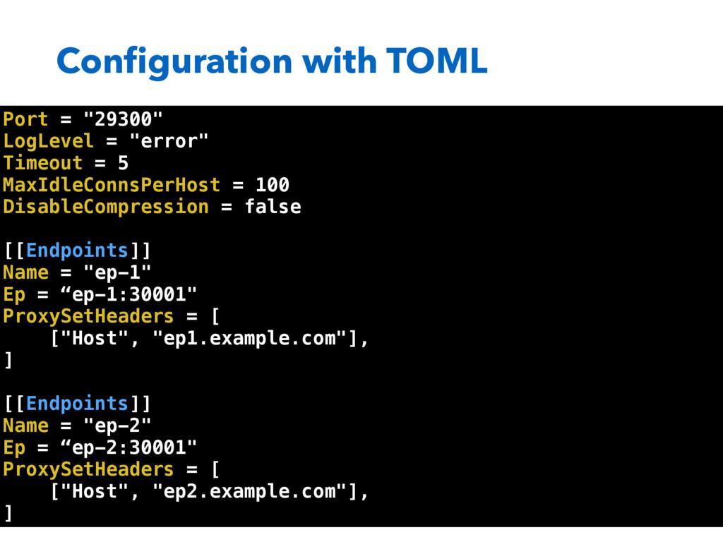 "Configuration with TOML Port = ""29300"" LogLevel ..."