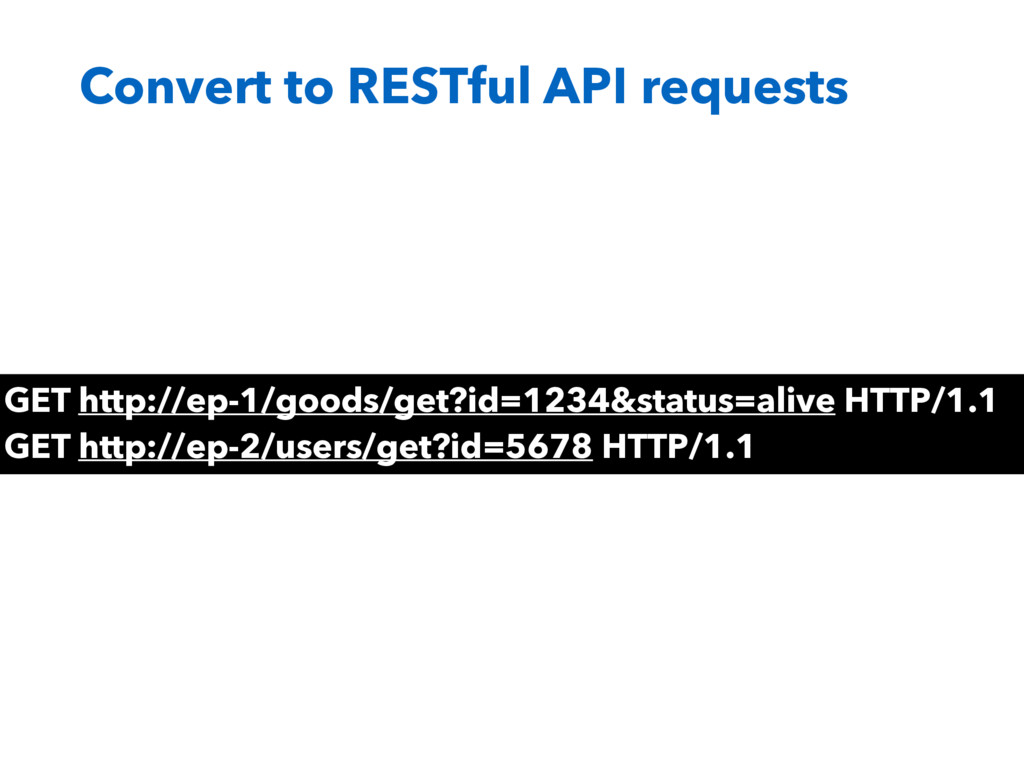 Convert to RESTful API requests GET http://ep-1...