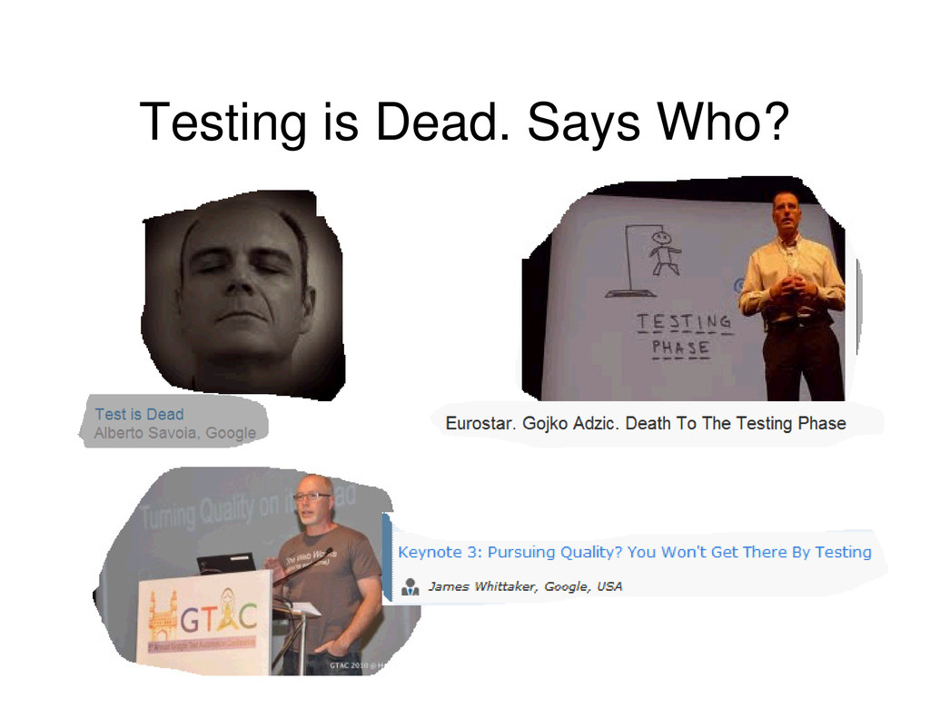 Testing is Dead. Says Who?